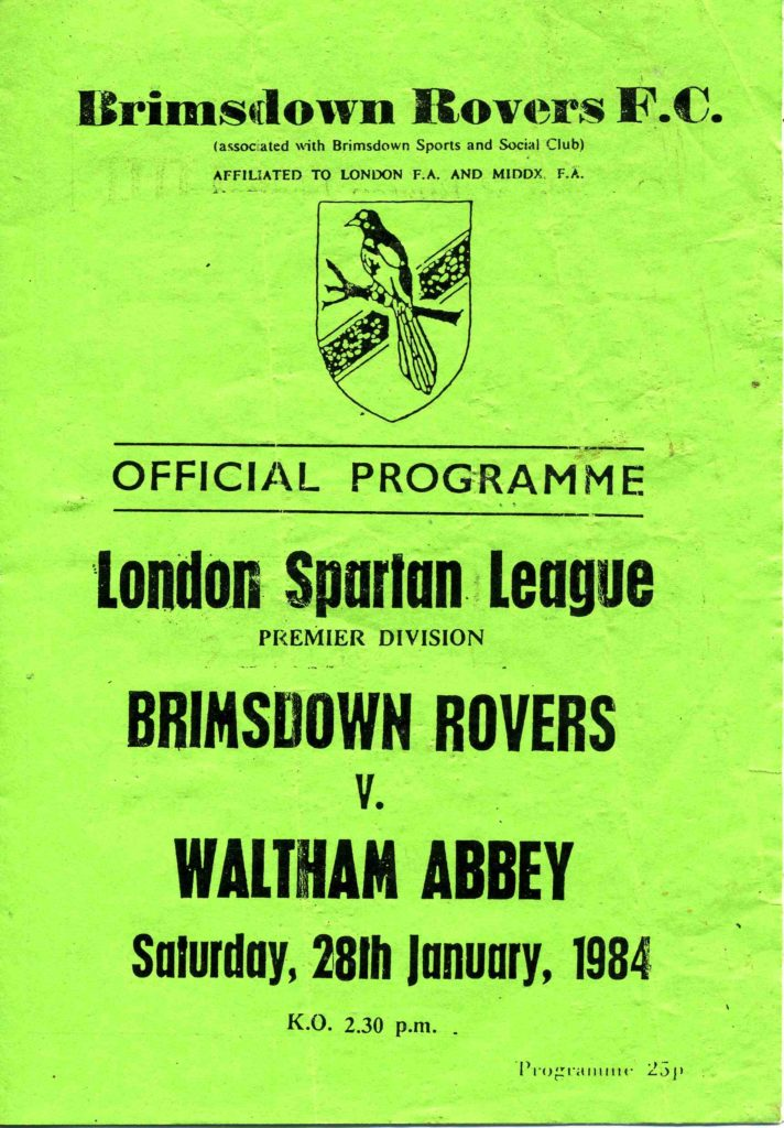 Brimsdown Rovers Away LSL 1983-84