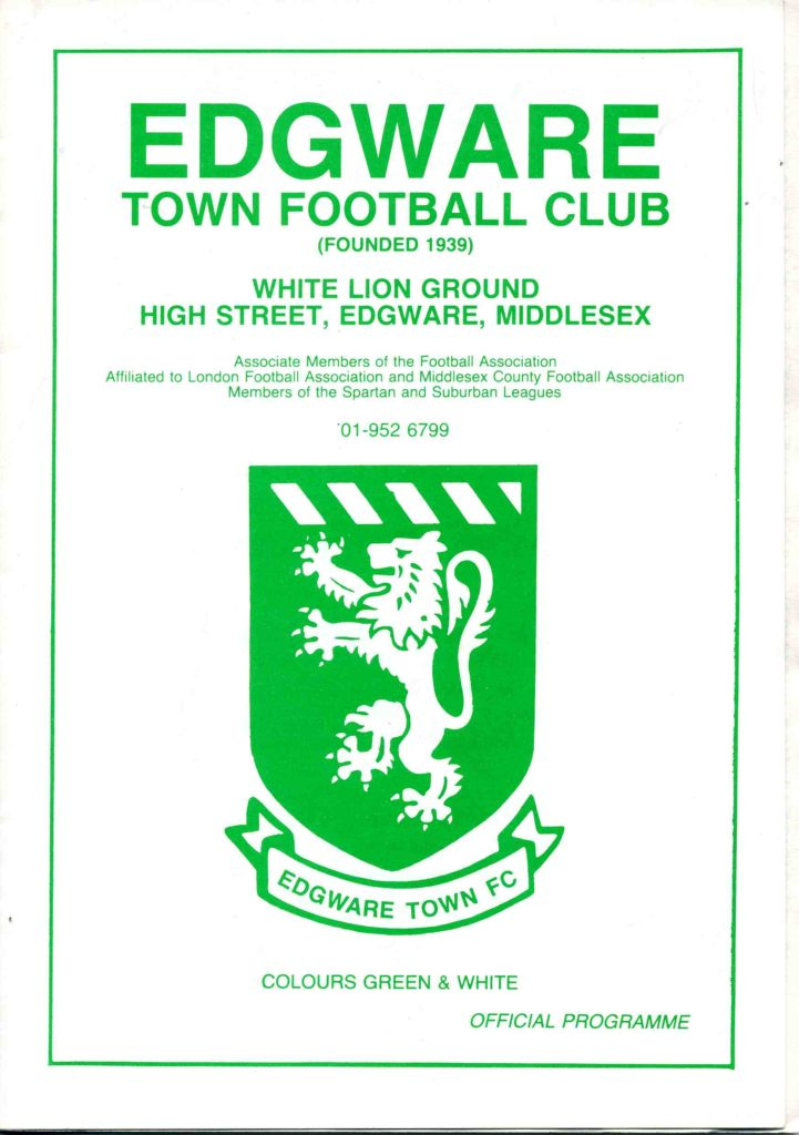 Edgware Town Away