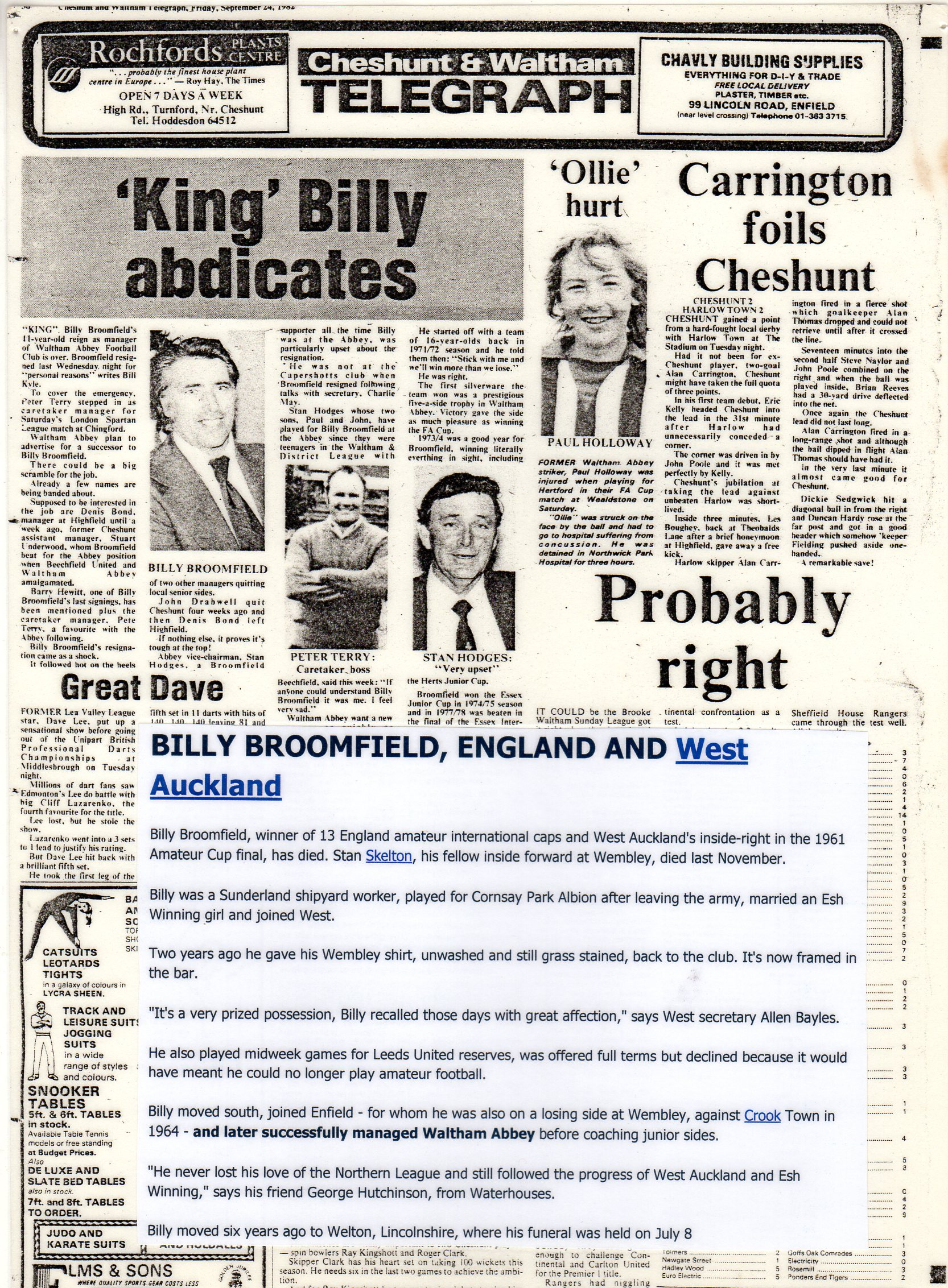 King Billy Abdicates