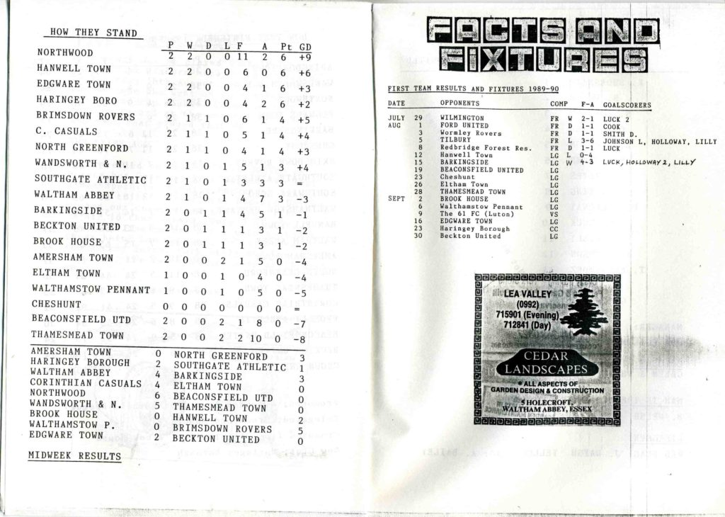 Beaconsfield United 1989-90 Inside Cover