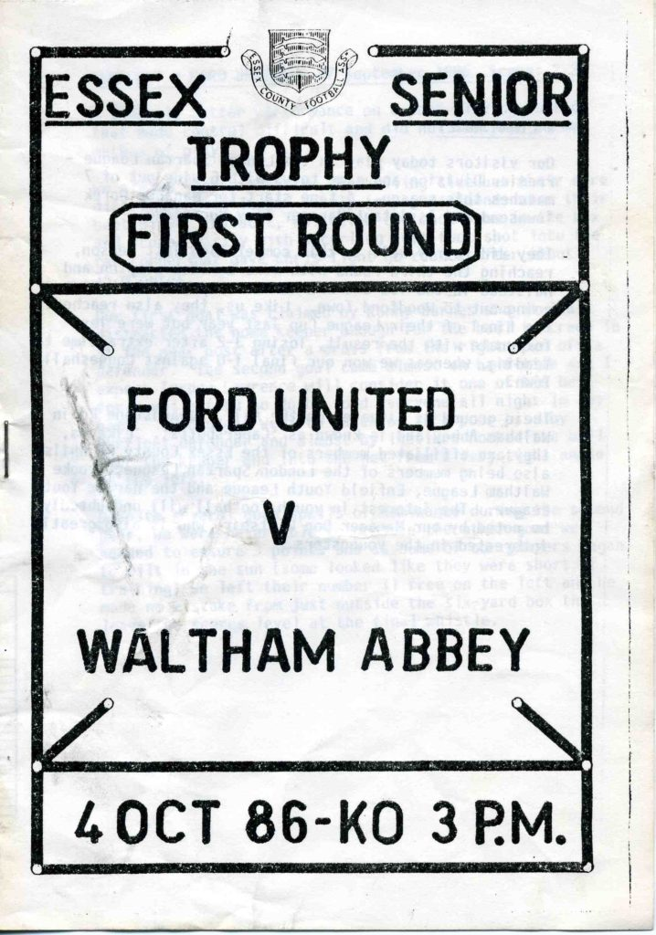 Ford United Essex Cup Away 1986-87